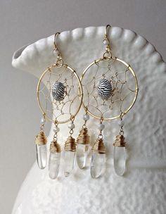 Crystal Dream Catcher Earrings Shell Hoops by BellaAnelaJewelry