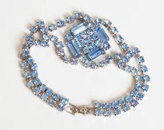 Vintage 50s 60s Rhinestone Bracelet Blue Vintage Jewelry 1950s 1960s