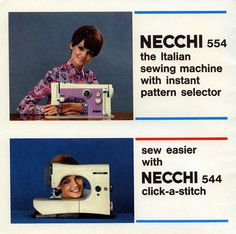 necchi sewing machine brochure, late - early - now that's some sewing machine modeling right there! Vintage Sewing Machines, Vintage Italian, Stitch, Vintage Posters, Modeling, Pattern, Hunting, Lisa, Africa