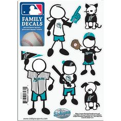 Florida Marlins MLB Family Car Decal Set (Small)