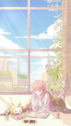 The winter sun is very suitable for reading, um . is also very suitable for dozing off [ zzzzz ] Manga Girl, Manga Anime, Anime Girl Pink, Kawaii Anime Girl, Anime Art Girl, Anime Chibi, Blue Anime, Anime Girls, Stray Dogs Anime