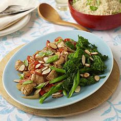 This easy chicken one-dish meal features stir-fried chicken served alongside steamed broccolini and whole wheat couscous. Chicken Broccolini Recipe, Cooking Recipes, Healthy Recipes, Healthy Meals, Yummy Recipes, Yummy Food, Clean Eating, Healthy Eating, Kitchens