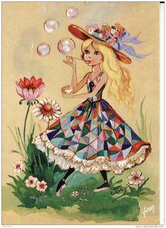 Vony - pretty girl in patchwork dress - retro art - kitsch - postcard