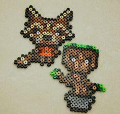 Rocket Raccoon and Groot Guardians of the Galaxy Perler bead