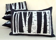 Custom Birch Tree Pillow Cover -- Personalized With Your Initials