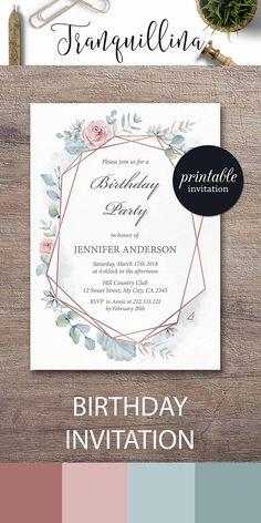 Floral Birthday Invitation Geometrical Birthday Invitation Mint pink watercolor birthday party invitations. Party ideas #birthday