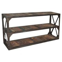 Reclaimed wood plank console table with three tiers and an open X-sided iron frame. Product: Console tableConstruction Material: Reclaimed ironColor: Dark bronzeDimensions: 31 H x 59 W x 16 DCleaning and Care: Do not use harsh chemicals