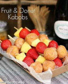 You can almost pretend this is a healthy dessert, thanks to the fresh fruit: @celebrateathome has the fun recipe for Fruit and Donut Kabobs that hold up well and travel easily. http://thestir.cafemom.com/food_party/191555/10_crowdpleasing_recipes_for_tailgating