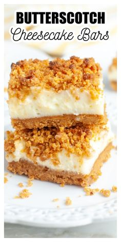 Creamy butterscotch cheesecake bars are an easy and delicious dessert. Made with a butterscotch crumb base using butterscotch chips and graham cracker crumbs and topped with a sweet cream cheese center.
