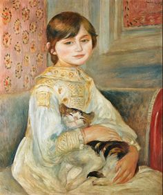 By Auguste Renoir, Julie Manet avec chat.