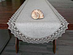 72 Long Linen Table Runner Lace dresser scarf by HomelikeLinen