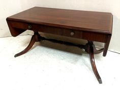 Duncan Phyfe Drop Leaf mahogany Coffee Table with Drawers $275
