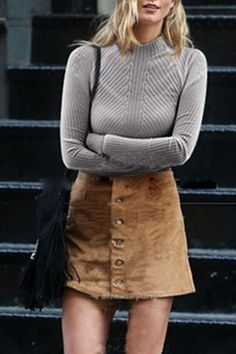 010c6f38fd902c Pure Color Stand Neck Long Sleeve Jumper Suade Skirt Outfit