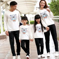 Cartoon Family Clothing Cotton T shirts Clothes for Mother Daughter Father Son Family Set Matching Clothes, White/Navy ML66