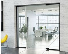 frameless glass partition with hinged door and black hardware Glass Hinges, Sliding Glass Door, Glass Room Divider, Sliding Door Systems, Glass Partition, Luxury Rooms, Light And Space, Folding Doors, Pocket Doors
