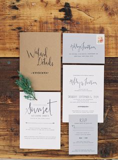 Simple modern rustic wedding invitation suite with white grey and brown kraft paper elements