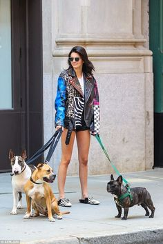 Kendall Jenner rocks punk look as she plays at being a dog walker for fashion shoot Kendall Jenner Outfits, Kendall E Kylie Jenner, Kardashian Jenner, Kardashian Kollection, Marc Jacobs, Punk Looks, Lazy Day Outfits, Gucci, Slippers