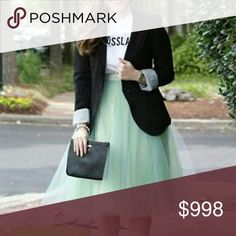 """🆕 Spring Mint 5 Layer Tulle Skirt Perfect for Spring! 5 Layer Tulle Mid-length skirt, Satin waistband.  One size fits most.  Measurements: Waist 26"""" flat lay  (stretches to approx 34"""")    Length 26""""  PRICE IS FIRM, NO OFFERS   1711 Boutique  Skirts Midi"""
