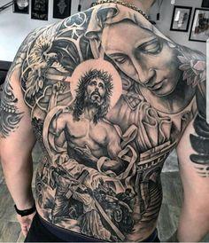 60 Catholic Tattoos For Men - Religious Design Ideas - Religious Mens Catholic Jesus And Mary Back Tattoo - Religious Tattoos For Men, Religious Tattoo Sleeves, Catholic Tattoos, Biblical Tattoos, Torso Tattoos, Best Sleeve Tattoos, Body Art Tattoos, Hand Tattoos, Jesus Tattoo