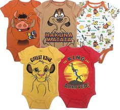 Disney Baby Unisex 5 Pack Bodysuits - Mickey Mouse, Lion King & Pixar : Soft interlock knit fabric, cotton, polyester Adorable Disney 5 pack creeper set Lap shouders for easy dressing 3 snap closure for easy diaper changes . Lion King Nursery, Lion King Baby Shower, Baby Boy Outfits, Kids Outfits, Newborn Outfits, Disney Babys, Timon And Pumbaa, Le Roi Lion, Baby Boys