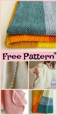 Here are 10 easiest and beautiful knit baby blanket free patterns . You can make one if you don't know how to crochet, it is simple and easy to make. Knitting For Kids, Easy Knitting, Baby Knitting Patterns, Loom Knitting, Baby Patterns, Knitting Stitches, Easy Knit Baby Blanket, Knitted Baby Blankets, Free Baby Stuff