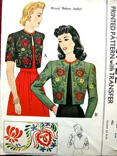 McCall 921; ©1942; Misses' Bolero Jacket | Vintage Patterns Wikia
