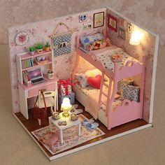 Creative+Gifts+Diy+Craft+Gift+Of+Birthday+Hut+Model+DIY+Dollhouse+Including+All+Furniture+Lights+Lamp+LED+–+USD+$+23.99