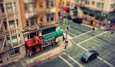 Forced perspective makes street look like toys.
