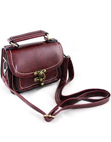Red Vintage Contrast Trims Shoulder Bag