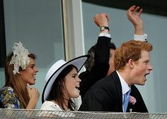 Princesses Eugenie and Beatrice and Prince Harry cheer during the Derby    Photograph: Ben Stansall/AFP/Getty Images