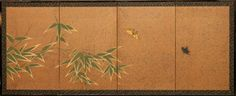 Japanese Screen: Bamboo on Silver Dust with Butterflies; c.1900