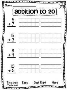 Addition to 20 with 10 frames help.. lots of differentiated math worksheets!