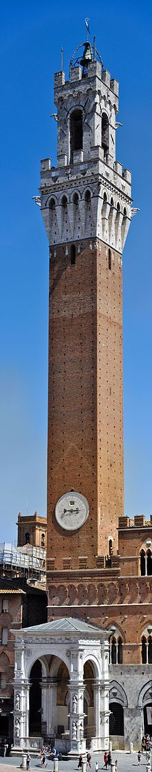 The Palazzo Pubblico: Civic Museum and Mangia Tower, Siena, Italy.
