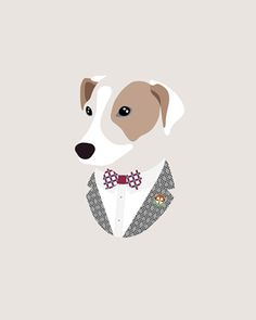 Custom Pet Portrait by Woof Models - Russell Terrier. Model is wearing Cor Sine Labe Doli Painted Ceramic Bow Tie, Paul Smith White Cotton Shirt, Versace Collection Textured Blazer & West Ham United Pin.