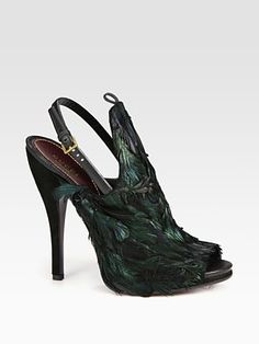 Gucci - Jane Feather and Suede Slingback Pumps - Saks.com