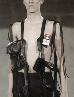 Raf Simons S/S 2003 Babe this is all you need. Look it has a little section for your cigarettes. Raf Simons, Fashion Brands, Fashion Show, Fashion Accessories, Fashion Outfits, Dark Fashion, Mens Fashion, Fashion Menswear, Runway Fashion