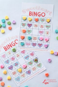 Our Valentine Bingo game printable features 2 different sets of 20 unique game cards. Play the colored hearts version with at your preschool Valentine's Day party, or opt for the conversation heart phrase version for your early readers My Funny Valentine, Valentine Bingo, Valentines Games, Valentines Day Activities, Valentines Day Party, Valentine Ideas, Valentine Crafts, Printable Valentine, Tween Party Games
