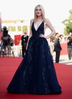97f2f616134 Dakota Fanning in Elie Saab at the Venice Film Festival Blue Gown