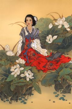 Lady Willow, Painting by Caroline Young.  For more information, please fan us at: www.facebook.com/ContemporaryChineseArt and check out our site at: www.cwgalleries.com