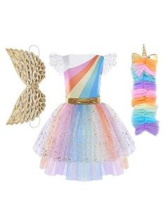 5b0cd605c13f Girls Magical Golden Rainbow Unicorn Halloween Costume for $39.99 at Mia  Belle Baby Unicorn Fancy Dress