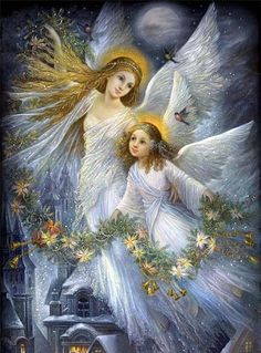 Angels:  Angels with floral garland.