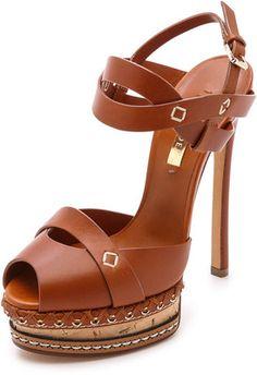 d3215880b9 Casadei Leather & Cork Heels - Brown Hot Shoes, Shoes Heels, Shoe Boots,