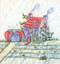 Periwinkle Lane - Block 1 Embroidery Pattern by Black Cat Creations - Jackie Theriot. Embroidery and crayon BOM pattern. Advanced Embroidery, Hand Embroidery Art, Vintage Embroidery, Sewing Stitches, Embroidery Stitches, Embroidery Patterns, Quilt Block Patterns, Quilt Blocks, Inktense Blocks