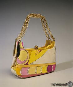multicolor yellow pink purple lavender silk faille and gold metal evening bag - emilio pucci - italy - circa 1967