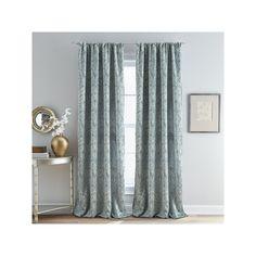 Damask Marlena Lined Curtain, Blue