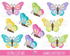 Sale Butterflies Clipart Butterfly Clip Art Spring - Kawaii Butterflies Clipart Set Includes Cute Graphics Personal And Small Commercial Use This Clip Art Pack Is Perfect For Scrapbooking Paper Crafts Card Design Stickers Party Invitations An Butterfly Clip Art, Butterfly Template, Cute Butterfly, Butterfly Design, Spring Animals, Kawaii, Clips, Scrapbook Paper Crafts, Art For Kids