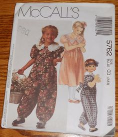 McCall's Sewing Pattern 5762 Girls Dress or Jumpsuit with Big Collar 2 3 4 Uncut #McCalls