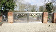 Contemporary stainless steel automated gates.