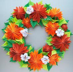Orange Dahlia Origami Papier Kranz Thanksgiving Fall von Lusine