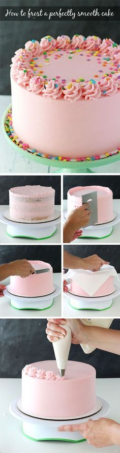 Tutorial for how to frost a perfectly smooth cake with buttercream icing! Images and animated gifs with detailed instructions! Tutorial for how to frost a perfectly smooth cake with buttercream icing! Images and animated gifs with detailed instructions! Food Cakes, Cupcake Cakes, Fondant Cakes, Icing Cupcakes, Frost Cupcakes, Fondant Icing, Wilton Cakes, Bakery Cakes, Cake Decorating Tips